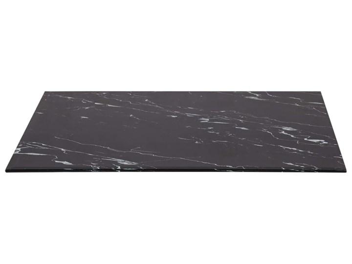 vidaXL Blat stołu, czarny prostokąt 100x62 cm szkło z teksturą marmuru