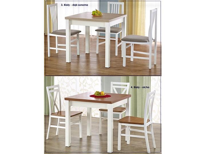 Kwadratowy rozkładany stół kuchenny Cubires - biały + dąb sonoma Wysokość 76 cm Szerokość 80 cm Długość 80 cm  Rozkładanie Drewno Rozkładanie Rozkładane