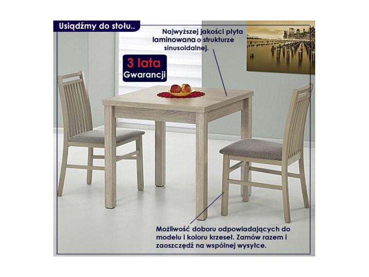 Kwadratowy rozkładany stół kuchenny Cubires - biały + dąb sonoma Szerokość 80 cm Wysokość 76 cm Długość 80 cm  Drewno Rozkładanie Styl Skandynawski