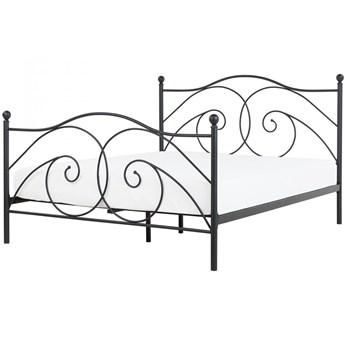 Łóżko czarne 160 x 200 cm metalowe ze stelażem DINARD kod: 4251682216487