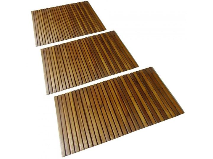 Mata prysznicowa z drewna akacjowego, 3 sztuki, 80 x 50 cm kod: V-271769