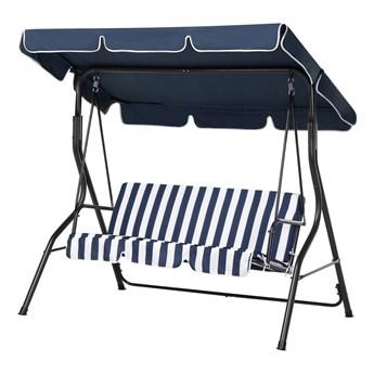 Huśtawka niebiesko-biała - meble ogrodowe - stal - ławka - Cammello kod: 7105271912335