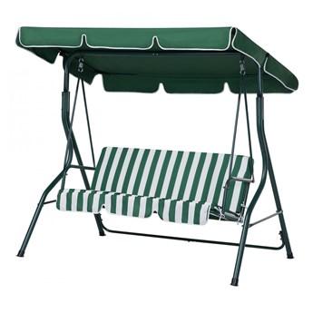 Huśtawka zielono-biała - meble ogrodowe - stal - ławka - Cammello kod: 7081456533918