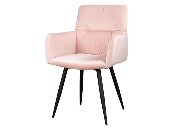 Krzesło Mosterio z podłokietnikami pudrowy velvet Styl Nowoczesny