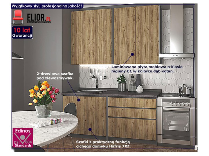 Zestaw mebli kuchennych Trida - dąb votan + antracyt Zestawy gotowe Kategoria Zestawy mebli kuchennych Kolor Brązowy