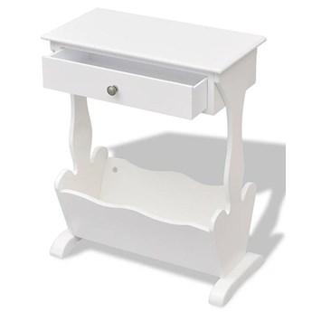 Biały stojak na gazety z szufladą Daisy