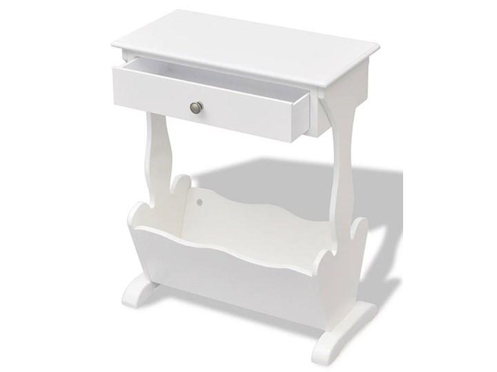 Biały stojak na gazety z szufladą Daisy Drewno Kategoria Gazetniki Kolor Szary