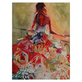 Obraz na płótnie kobieta w sukni z kwiatów 120 x 90 x 5 cm JWE0415