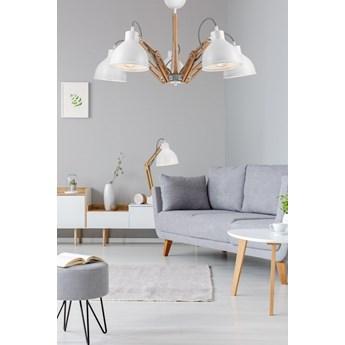 MARCELLO lampa sufitowa 5-punktowa biała - drewno buk