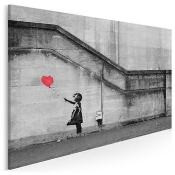 Banksy - Dziewczynka  - nowoczesny obraz na płótnie - 120x80 cm