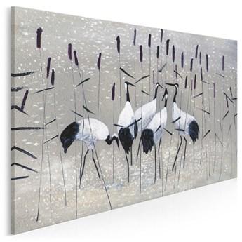 Żurawie nad rozlewiskiem - nowoczesny obraz na płótnie - 120x80 cm