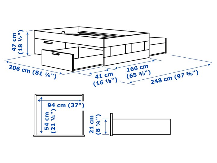 BRIMNES Rama łóżka z szufladami Łóżko drewniane Kategoria Łóżka do sypialni Kolor Biały