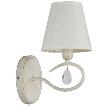 Kinkiet z abażurem BALI WHITE kryształki biały antyczny/ecru