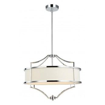 """Lampa wisząca metalowa srebrna abażur materiałowy kremowy """" Stef Cromo S """" 3x40w"""