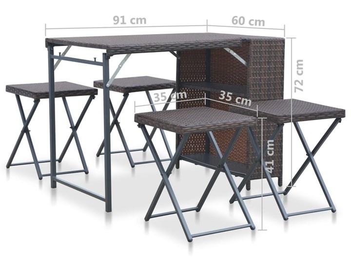 Zestaw składanych mebli ogrodowych Lanac - brązowy Stoły z krzesłami Kategoria Zestawy mebli ogrodowych