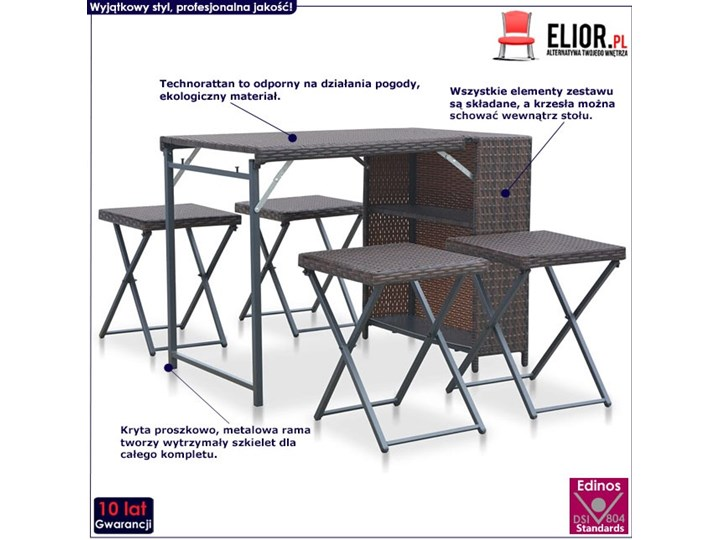 Zestaw składanych mebli ogrodowych Lanac - brązowy Stoły z krzesłami Kategoria Zestawy mebli ogrodowych Liczba miejsc Czteroosobowy