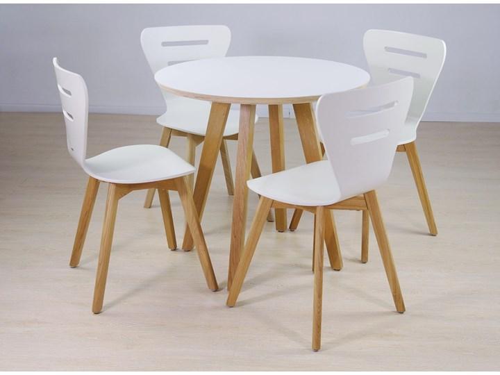 DORIS W krzesło drewniane białe, dębowa rama Głębokość 43 cm Szerokość 43 cm Drewno Wysokość 82 cm Głębokość 40 cm Styl Skandynawski