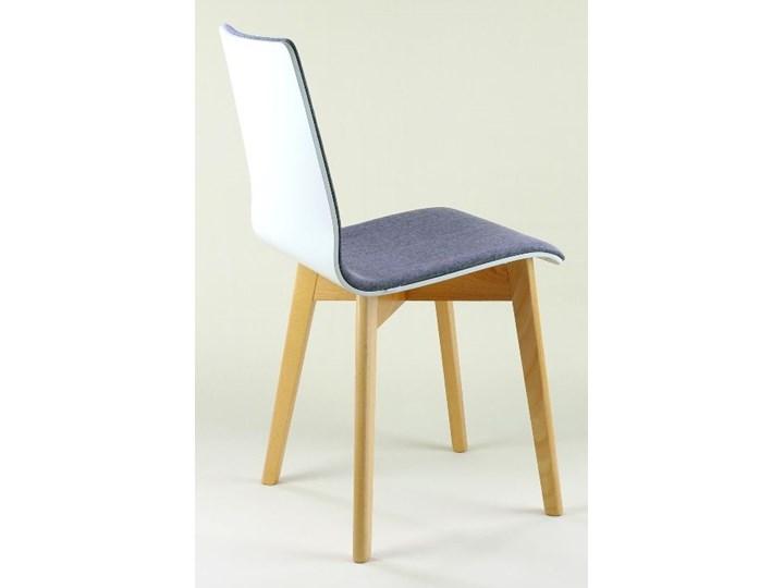 LUKA SOFT W krzesło drewniane biało-szare, bukowa rama Szerokość 40 cm Głębokość 40 cm Tkanina Styl Nowoczesny Płyta MDF Wysokość 87 cm Drewno Tapicerowane Pikowane Głębokość 41 cm Kategoria Krzesła kuchenne