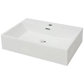 vidaXL Umywalka ceramiczna z otworem na baterię, 60,5 x 42,5 x 14,5 cm, biała
