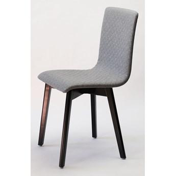 GRIM krzesło drewniane czarna rama, jasno-szara pikowana tkanina