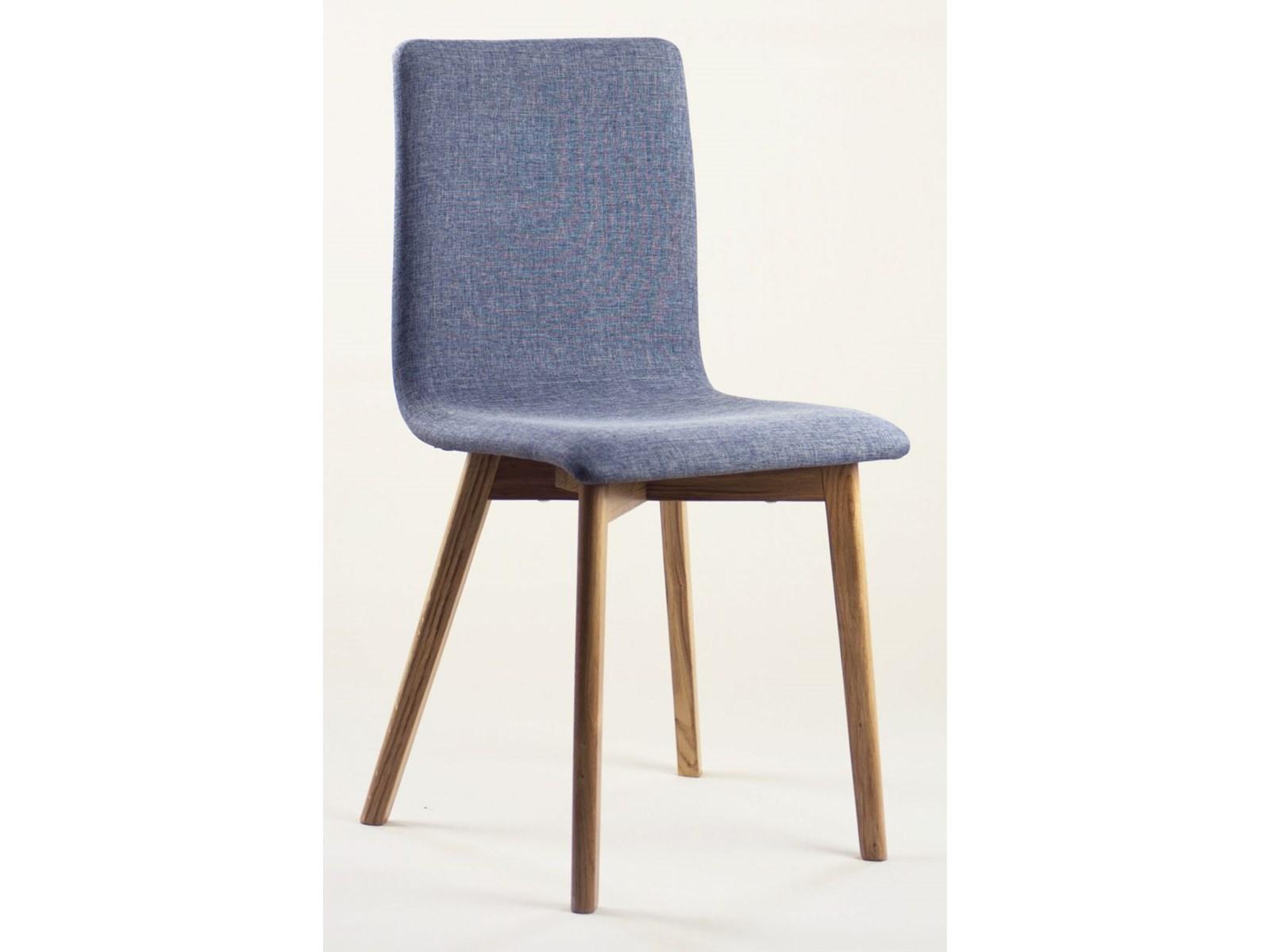 GRIM krzesło drewniane dębowa rama, szara tapicerka 06