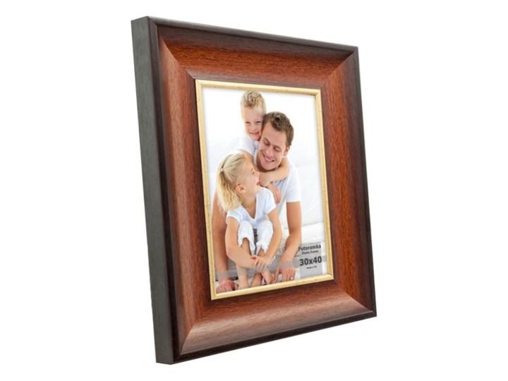 Ramka na zdjęcia 30 x 40 cm brązowo-złota Tworzywo sztuczne Drewno Kolor Brązowy