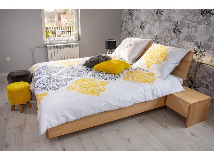 Zestaw: Ballega łóżko bukowe lewitujące 160x200 cm w kolorze jasny orzech plus dwie szafki Kolor Żółty