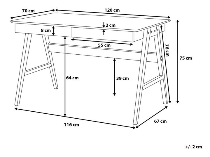 Biurko białe na drewnianych nóżkach 120 x 70 cm z szufladami styl skandynawski Płyta MDF Szerokość 120 cm Biurko komputerowe Drewno Pomieszczenie Biuro