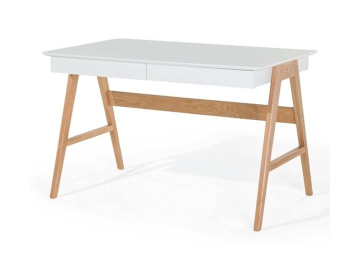 Biurko białe na drewnianych nóżkach 120 x 70 cm z szufladami styl skandynawski