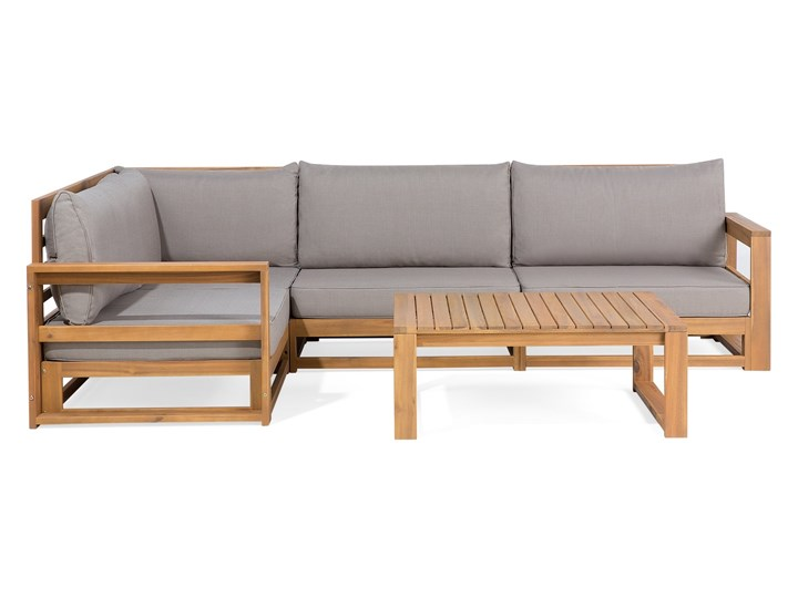 Zestaw mebli ogrodowych jasne drewno akacjowe narożnik szare poduszki stolik kawowy Zestawy wypoczynkowe Zestawy kawowe Zestawy modułowe Tworzywo sztuczne Styl Nowoczesny
