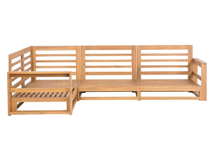 Zestaw mebli ogrodowych jasne drewno akacjowe narożnik szare poduszki stolik kawowy Tworzywo sztuczne Zestawy modułowe Zestawy wypoczynkowe Zestawy kawowe Kategoria Zestawy mebli ogrodowych