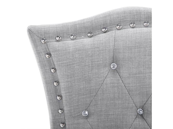 Łóżko szare tapicerowane 90 x 200 cm z pojemnikiem i stelażem ozdobne wezgłowie z kryształkami i ćwiekami Łóżko tapicerowane Kategoria Łóżka do sypialni