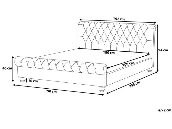 Łóżko ze stelażem szare welurowe 180 x 200 cm z zagłówkiem pikowane styl glamour Łóżko tapicerowane Kategoria Łóżka do sypialni