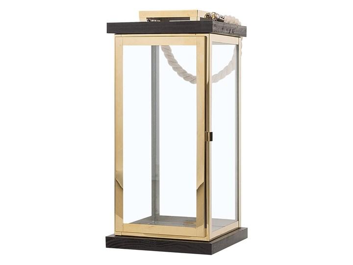 Lampion mosiężny ciemne drewno metalowy 41 cm boki ze szkła uchwyt nowoczesny Szkło Stal Kategoria Świeczniki i świece