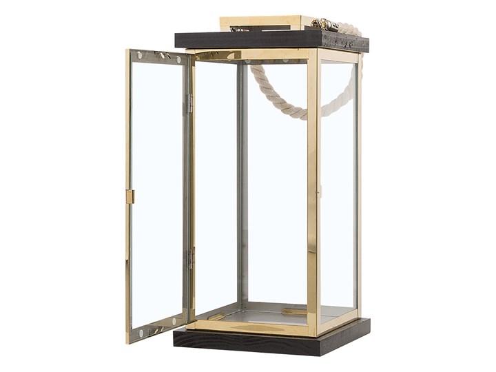 Lampion mosiężny ciemne drewno metalowy 41 cm boki ze szkła uchwyt nowoczesny Szkło Kategoria Świeczniki i świece Stal Kolor Brązowy