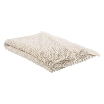 Beliani Koc beżowy bawełniany 130 x 180 cm narzuta styl boho