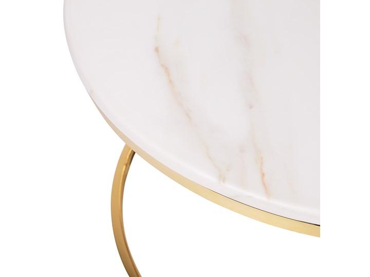 Stolik kawowy biały efekt marmuru złota stalowa rama 43 x 70 cm styl glam Płyta MDF Styl Nowoczesny Metal Kategoria Stoliki i ławy