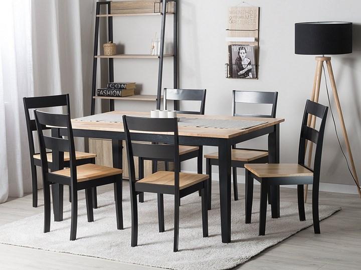 Stół do jadalni jasne drewno z czarnym 150 x 90 cm prostokątny styl skandynawski Długość 150 cm  Rozkładanie