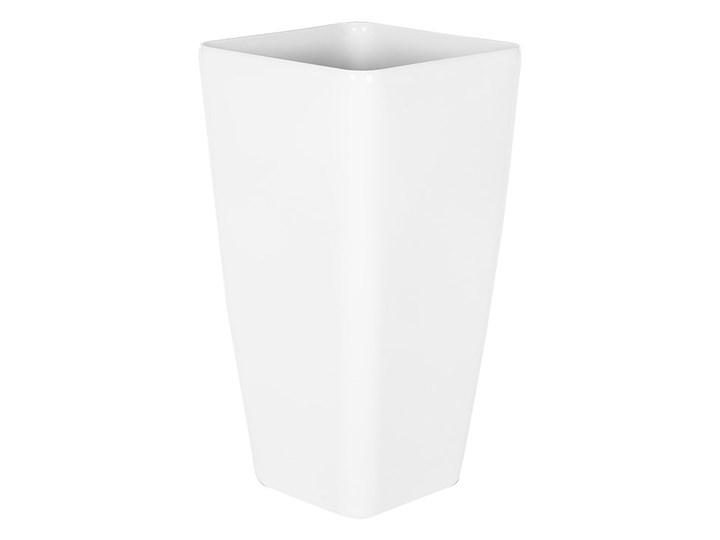 Doniczka biała mieszanka gliny 30 x 30 x 57 cm kwadratowa wysoka dekoracyjna do domu i na taras Włókno szklane Doniczka na kwiaty Kolor Biały