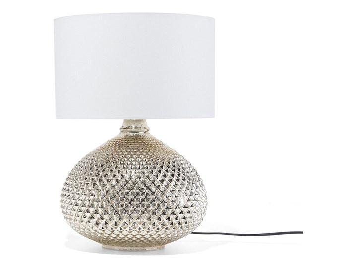 Lampa stołowa złota biała 55 cm szklana podstawa wysoki połysk glamour Lampa nocna Lampa z abażurem Kolor Złoty Styl Nowoczesny