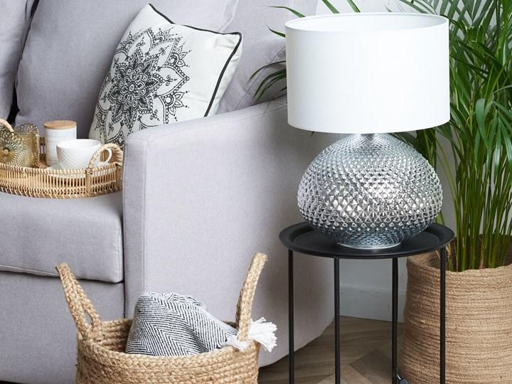 Lampa stołowa srebrna biała 55 cm szklana podstawa wysoki połysk glamour Lampa nocna Kategoria Lampy stołowe Styl Nowoczesny