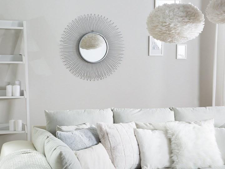 Lustro wiszące ścienne srebrne 80 cm okrągłe metalowe promienie słońca Pomieszczenie Przedpokój Lustro z ramą Pomieszczenie Sypialnia