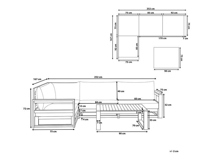 Zestaw mebli ogrodowych jasne drewno akacjowe narożnik szare poduszki stolik kawowy Zestawy modułowe Zestawy wypoczynkowe Zestawy kawowe Kategoria Zestawy mebli ogrodowych Styl Nowoczesny