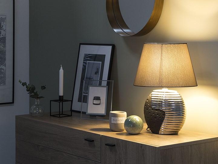 Lampka nocna czarna ze srebrnym ceramiczna ozdobna Lampa dekoracyjna Lampa z kloszem Lampa nocna Styl Nowoczesny