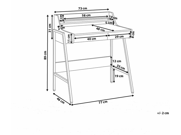Małe biurko jasnobrązowe 73 x 48 cm z nadstawką i szufladami na stalowej ramie Szerokość 72 cm Szerokość 77 cm Drewno Biurko komputerowe Biurko z nadstawką Płyta MDF Kolor Brązowy