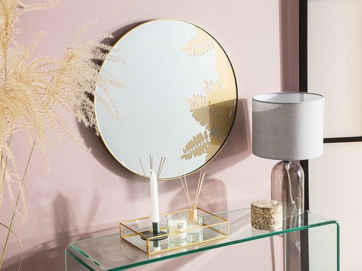 Okrągłe lustro ścienne złote metalowa rama 56 cm wzór liści łazienka salon styl retro Lustro z ramą Kategoria Lustra