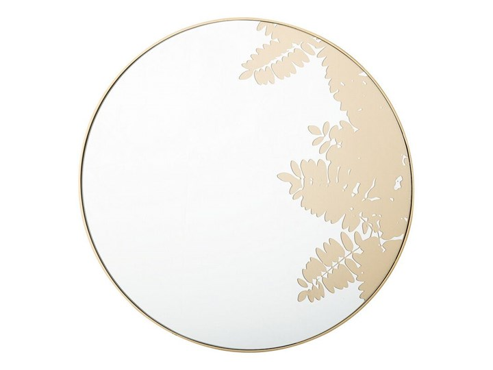Okrągłe lustro ścienne złote metalowa rama 56 cm wzór liści łazienka salon styl retro Kategoria Lustra Lustro z ramą Styl Nowoczesny