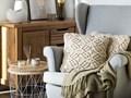 Poduszka dekoracyjna beżowa bawełniana makrama pleciona 45 x 45 cm z wypełnieniem ozdobny sznurek akcesoria boho retro salon sypialnia Poliester Kwadratowe 45x45 cm Bawełna Kolor Beżowy