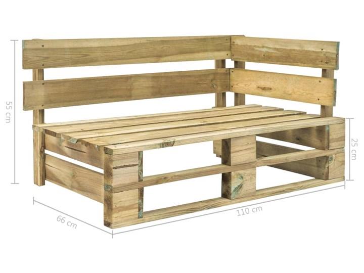 Ławka ogrodowa z palet Canther 2X - zielona Z oparciem Drewno Styl Minimalistyczny Długość 110 cm Styl Industrialny