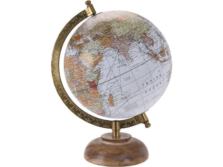 Globus ozdobny z drewna i metalu, dekoracja retro biała.